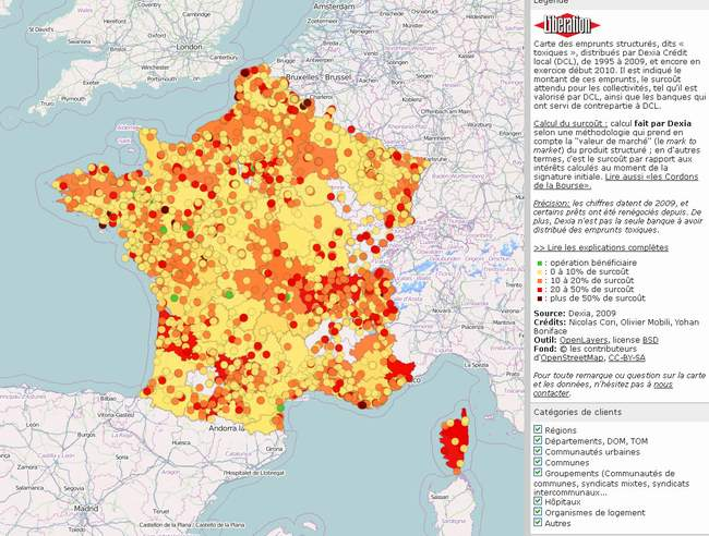 carte de France des prêts toxiques Dexia
