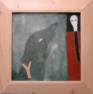 CAMPOS Alain Le Tribunal des Corbeaux, 2001 huile sur bois 36x35 cm
