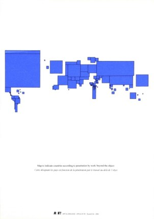 Carte du monde, affiche n°81 2002 sérigraphie par Alain Buyse 53x38 cm