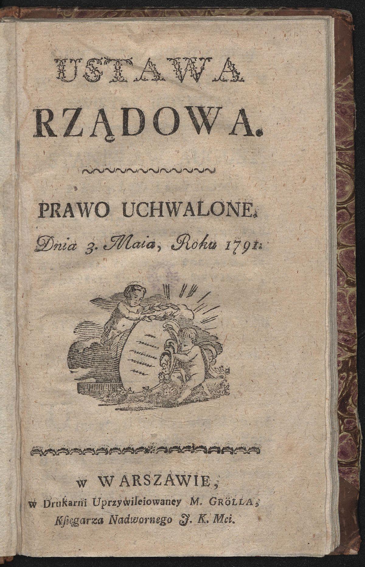 Strona tytułowa Konstytucji 3 Maja