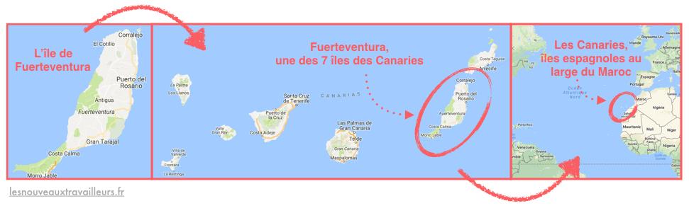 Carte de Fuerteventura, île des Canaries espagnoles, au large du Maroc