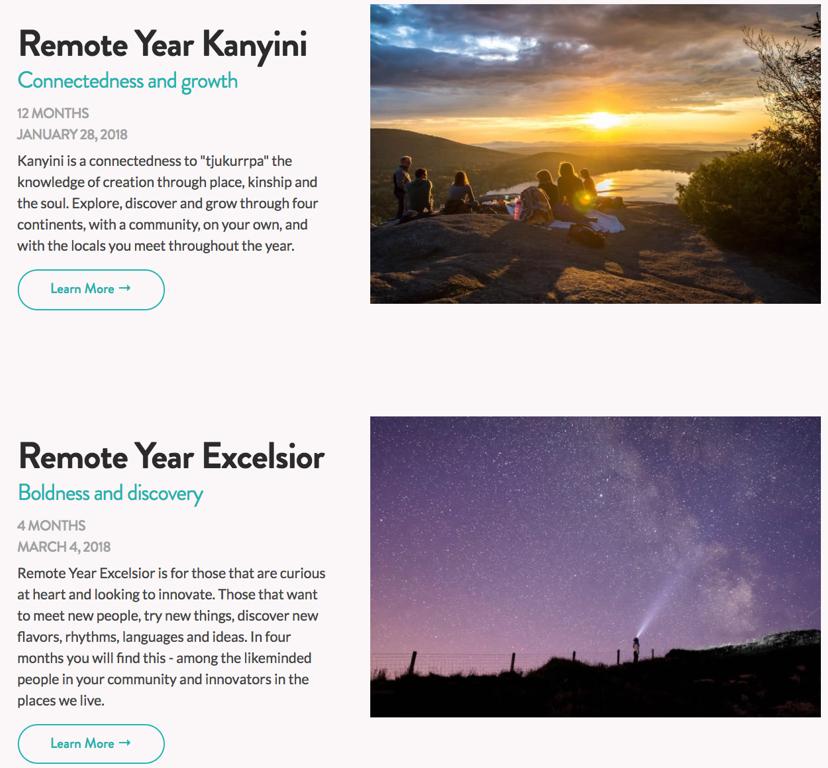 Les programmes de 4 ou 12 mois de RemoteYear