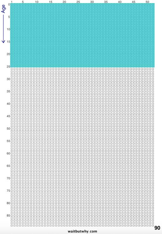 Couleur représentant le nombre de carrés utilisés sur le total quand on a 25 ans