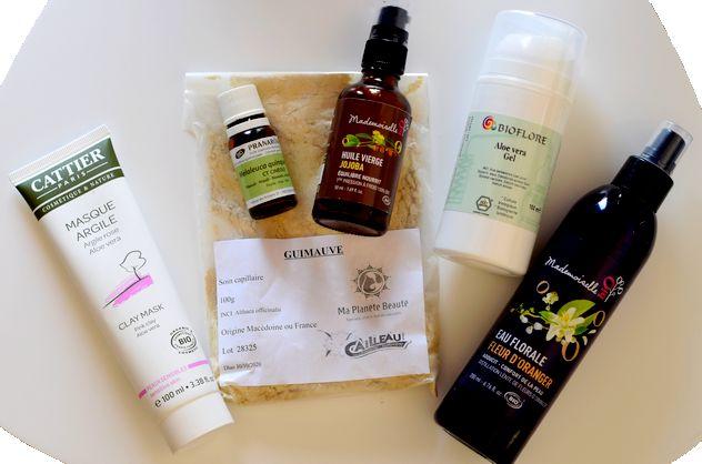 Ingrédients naturels et biologiques pour fabriquer ses masques maison : poudre, argile, aloe vera, huiles végétales, huiles essentielles, hydrolat