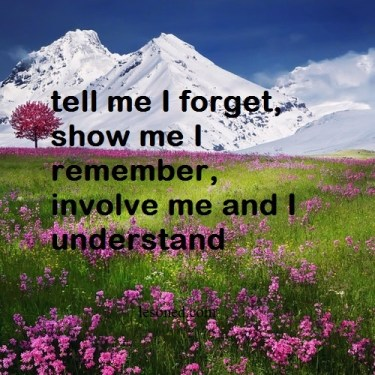 tell me I forget, show me I remember, involve me and I understand