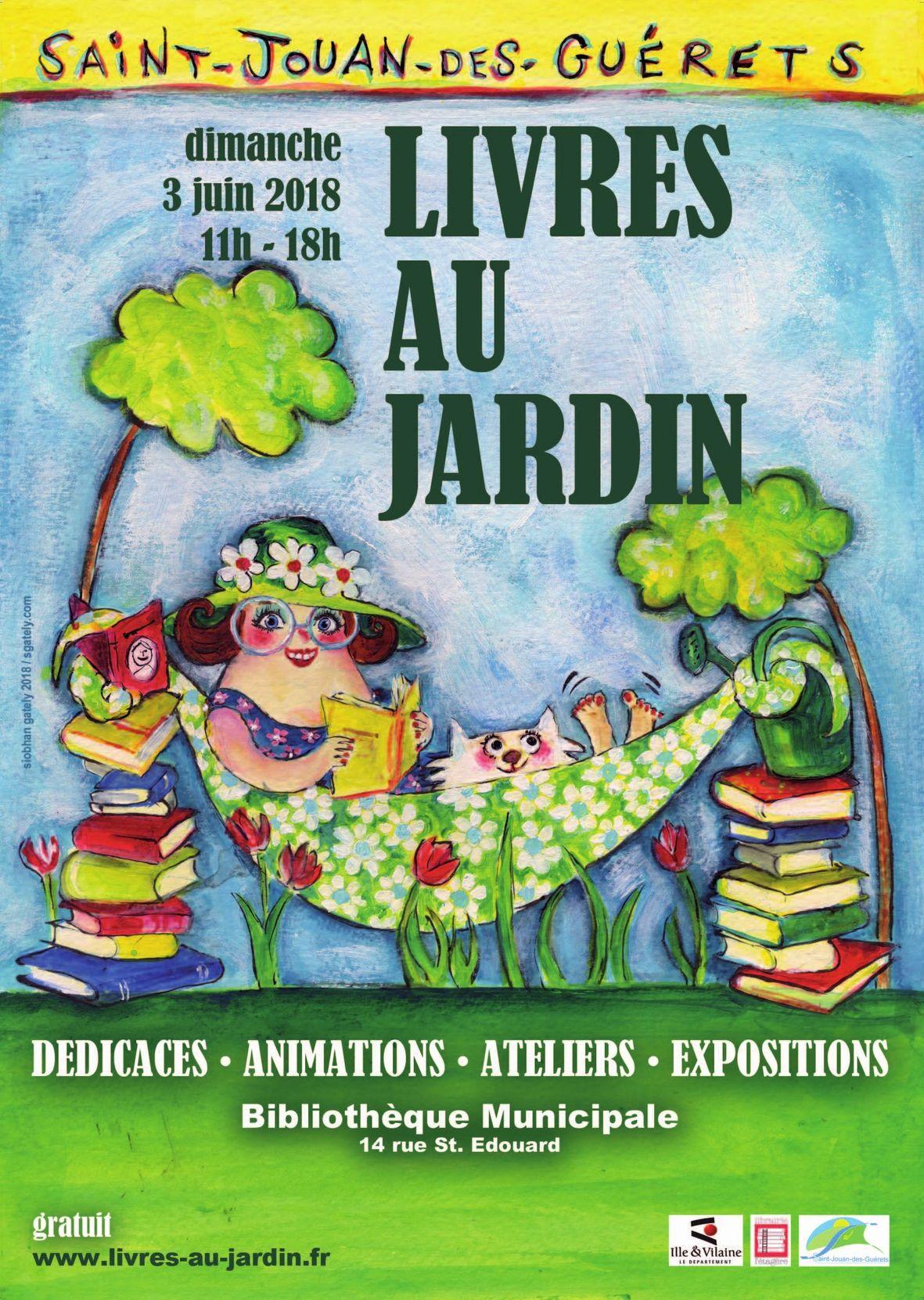 affiche livres au jardin Saint-Jouan-des-Guérets 3 juin 2018