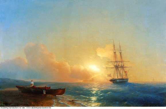 Fishermen on the coast of the sea peinture ivan aivazovsky