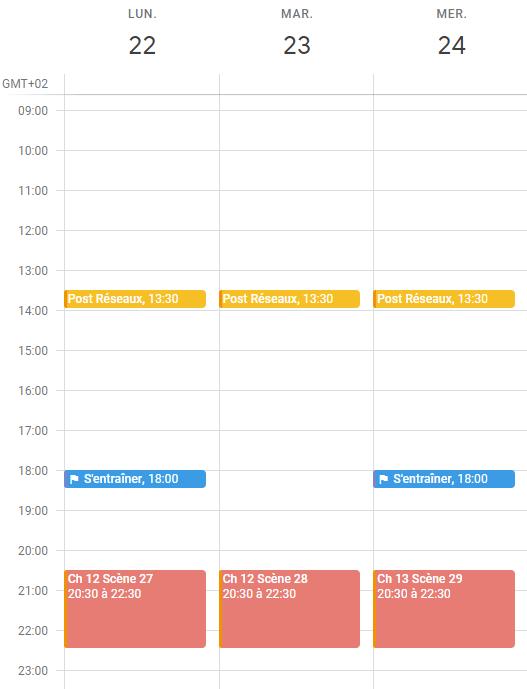 agenda organisation blocs de temps