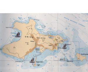 Carte de Union Island avec nos 3 mouillages