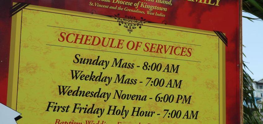 Horaire des services Catholiques