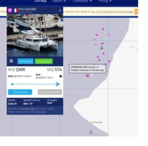 TrafficMarine emplacement et données de Patandre le 11/07/2019