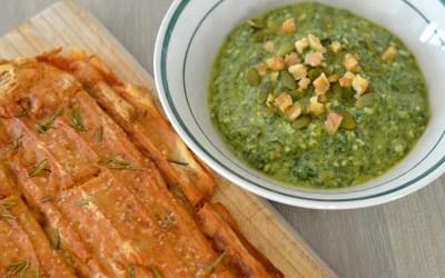 Pesto aux fanes de carottes et Focaccia sans gluten