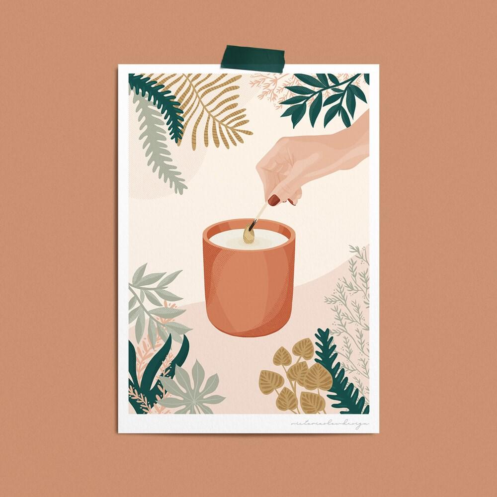 affiche illustration bougie végétal sur papier recyclé