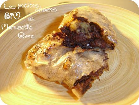 Du boudin, des pommes et des raisins emmaillotés de feuilles de riz, comme des p'tits nems !