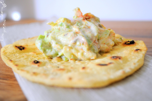 """Salade d'avocat sur pain indien pour un déjeuner """"india like"""" vite fait bien fait"""