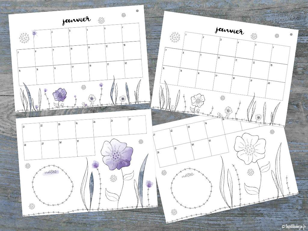 Calendrier familial 2019 à imprimer - Version aquarelle ou à colorier