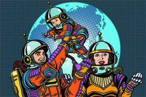 Maman, papa et leur enfant en style retro vont dans l'espace dans le cadre des family days de leur entreprise !
