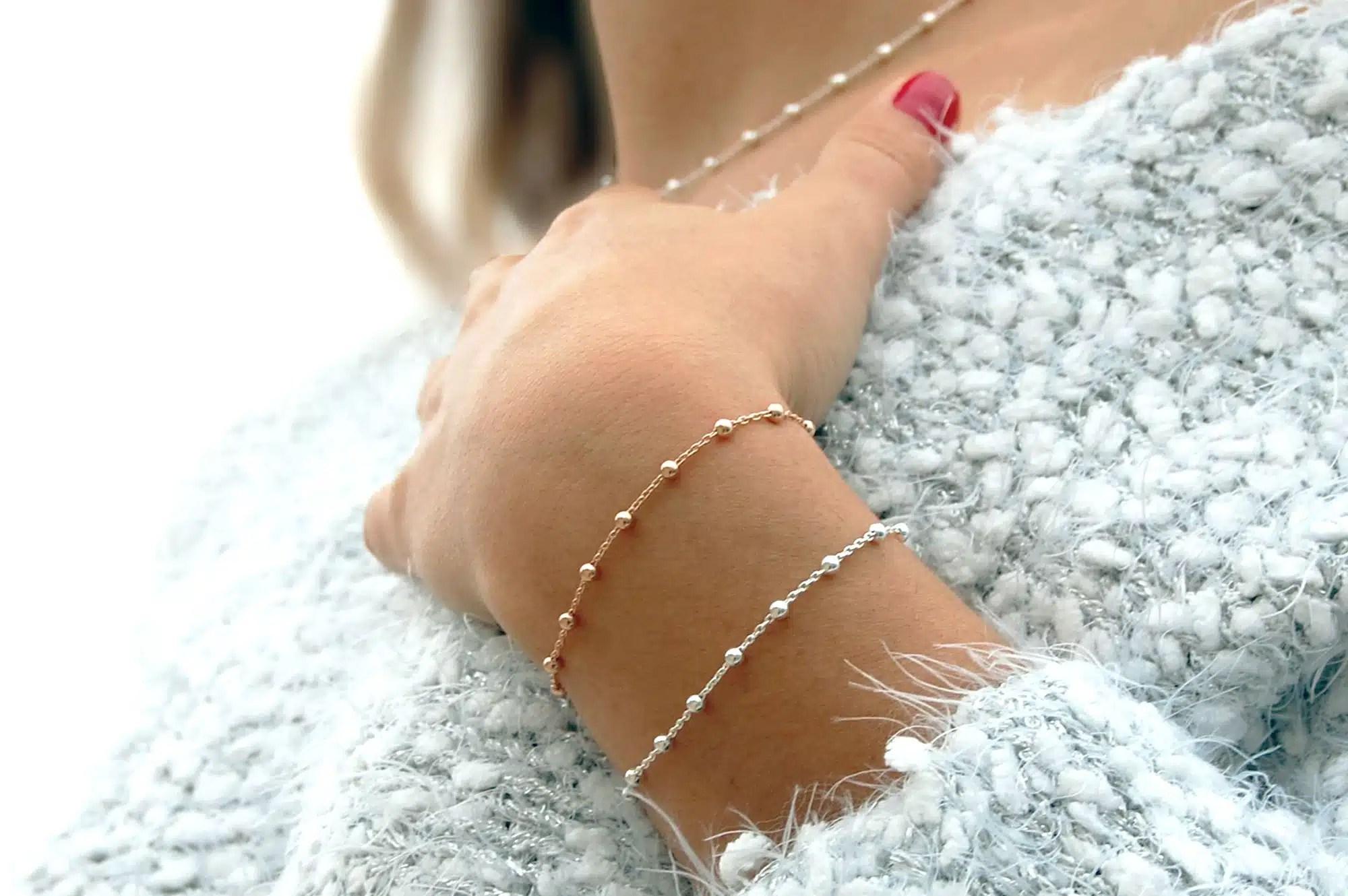 Bracelet argent et rose Icone Satis