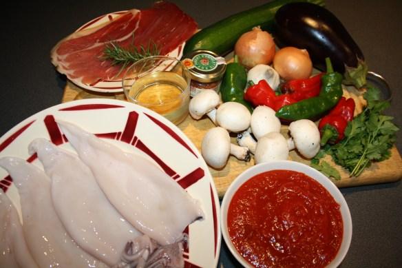 Encornets farcis aux légumes d'été et jambon de Bayonne