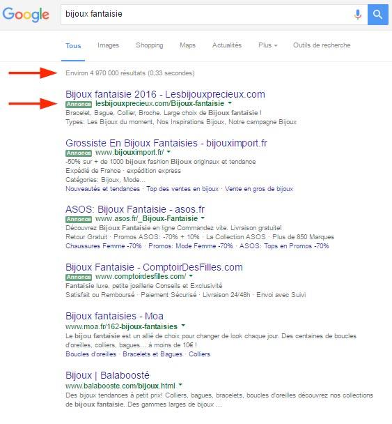 recherche d'une requête sur google