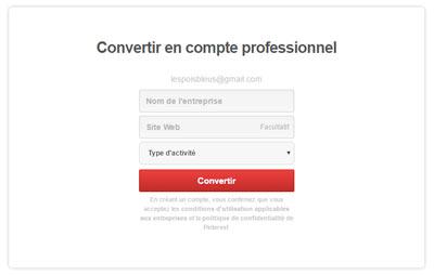 convertir son compte personnel Pinterest en compte business