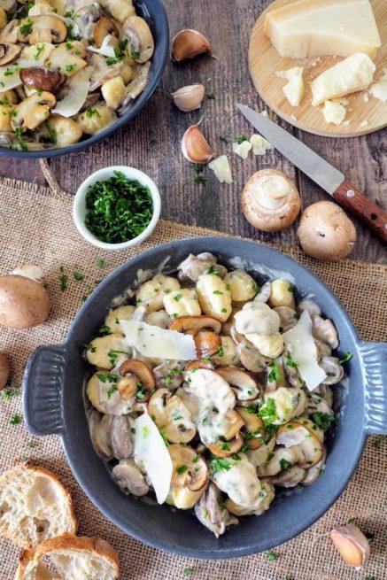 recette facile de gnocchi aux champignons et crème