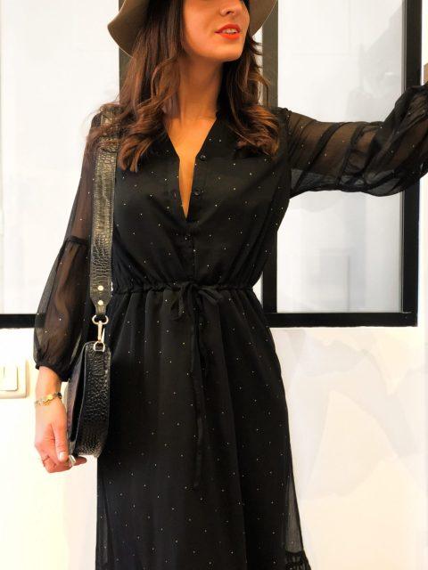 robe longue noir pois or boutique les piplettes