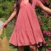 robe courte rose pois or boutique les piplettes