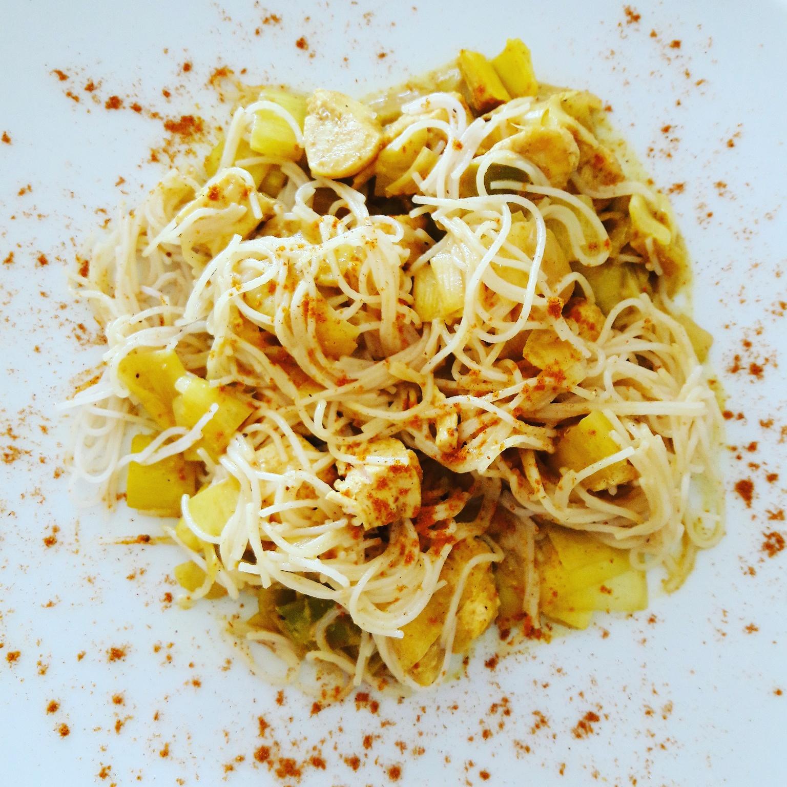 Curry de poulet poireau coco