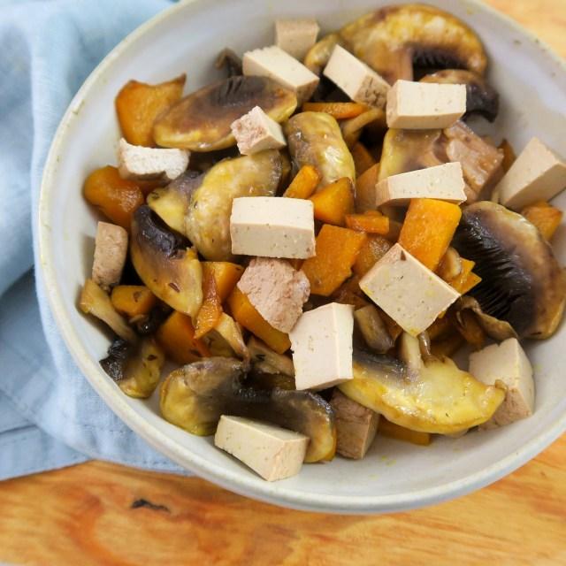 poêlée potimarron facile tofu fumé champignons