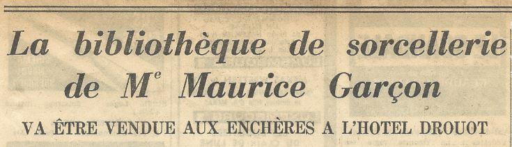 Annonce de la vente Maurice Garçon