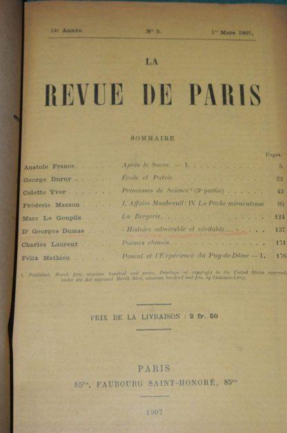 Dr G. DUMAS, Histoire admirable et véritable..., Paris, Revue de Paris, mars et avril 1907