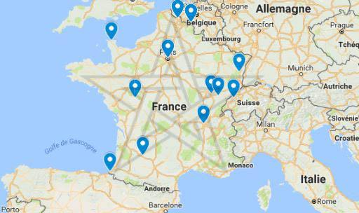 Carte de France des cas de Sorcellerie, possessions et phénomènes extraordinaires
