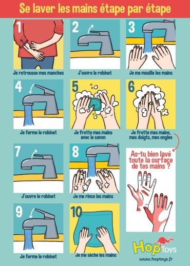 affiche se laver les mains enfants maux de l'hiver