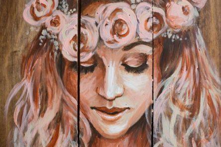 belle des champs, tableau sur bois par l'artiste Coraline van butsele alias coco