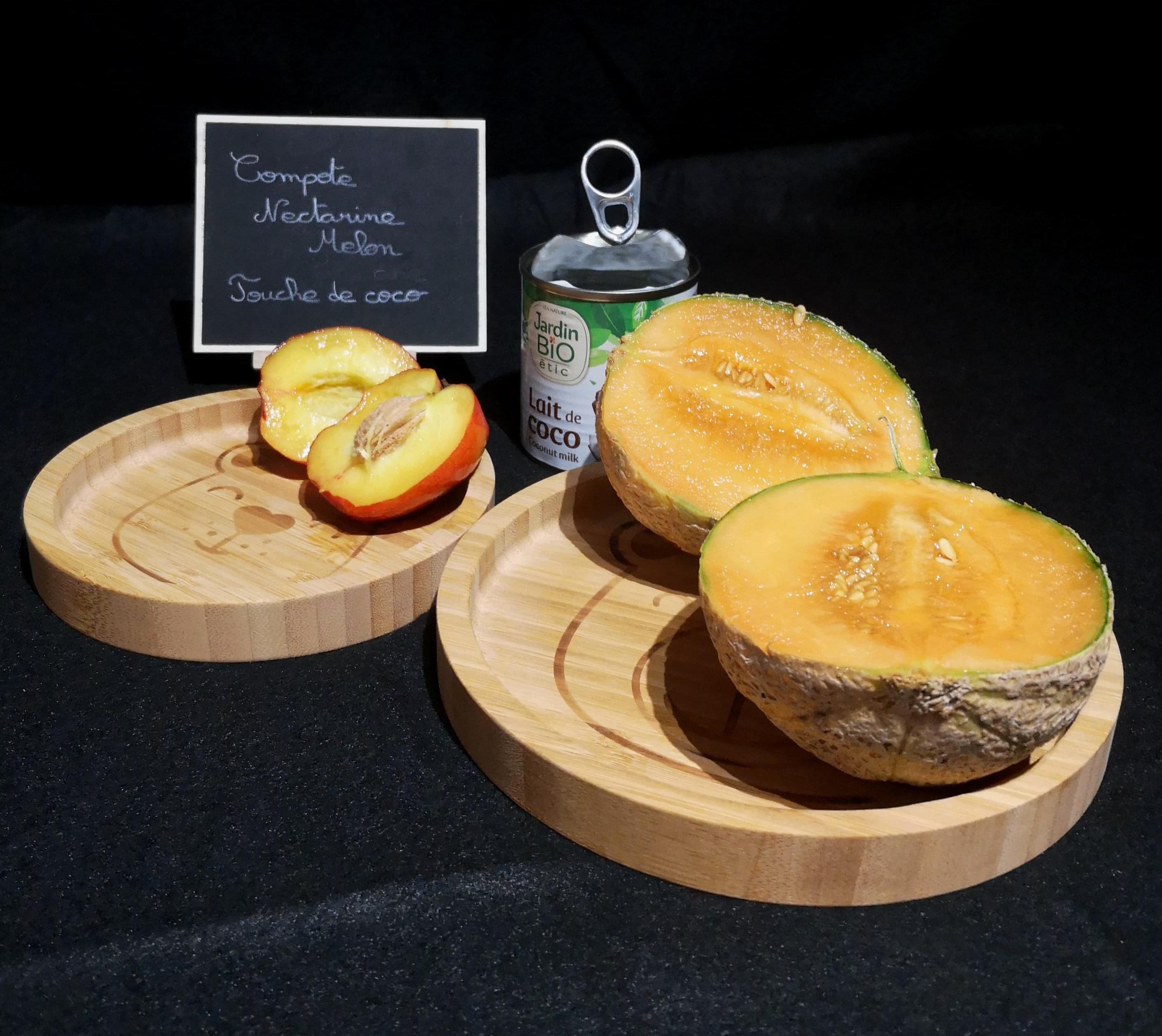 compote de melon et nectarine, touche de noix de coco