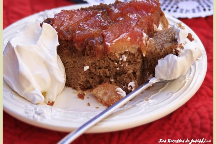 Gâteau renversé à la châtaigne et aux coings confits