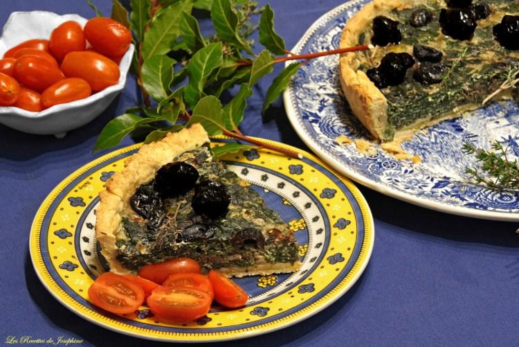 Tarte aux olives et épinards 4 w