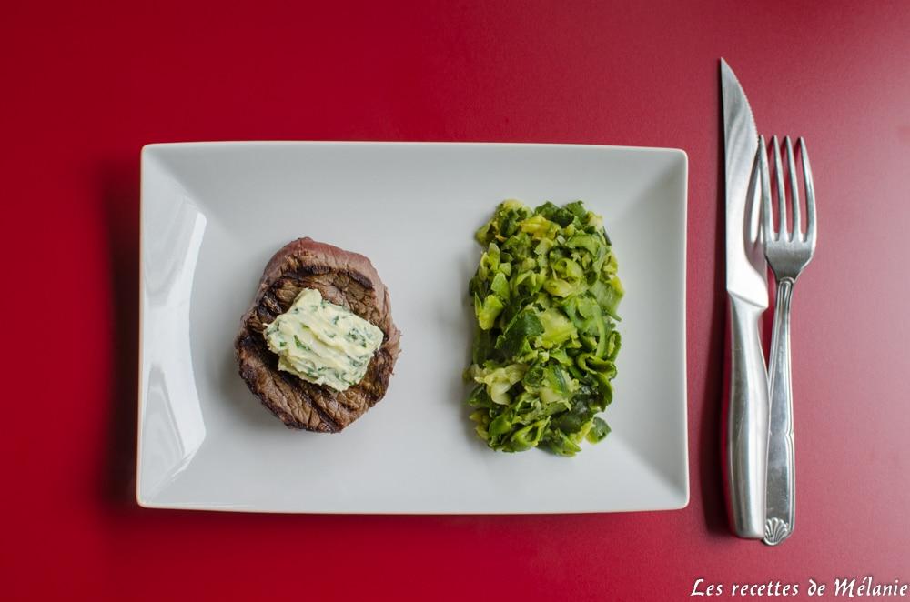 Tournedos grillé, beurre maître d'hôtel et tagliatelles de courgettes