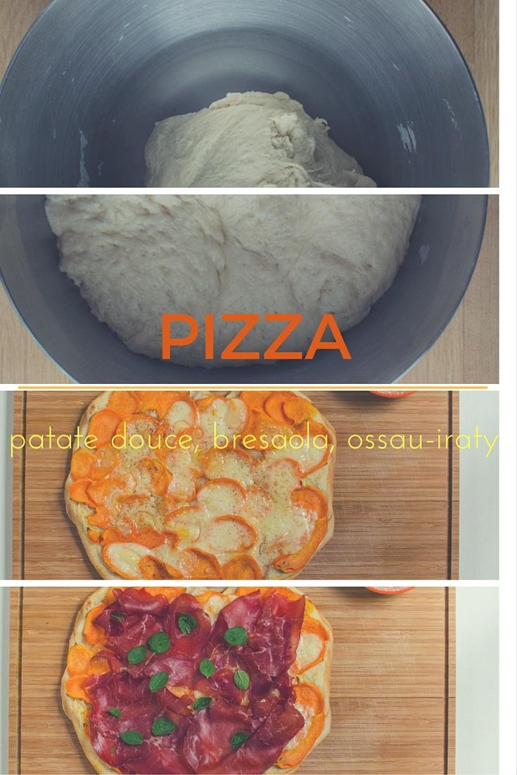 Pizza à la patate douce, bresaola et ossau-iraty