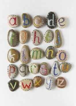 Galet peints alphabet