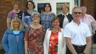 En bas: Lauraine Desbois, Diane Trudel, Claudette Legault, André Lefebvre. En haut: pierrette Pelletier, France Bourgouin, Jocelyne Chicoine, Nicole Paquette, Jeannine Chatillon.