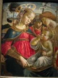 """Anonyme, """"La vierge, Saint Jean-Baptiste et un ange adorant l'enfant Jésus"""""""