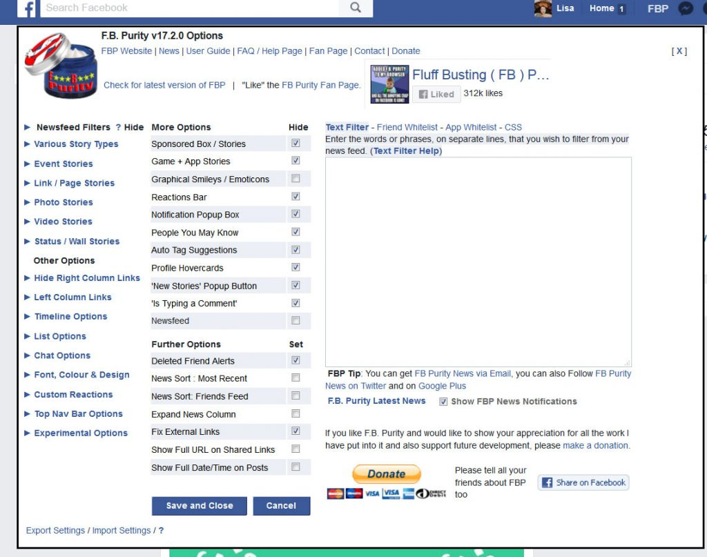 Facebook purity options