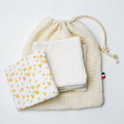 Kit de carrés démaquillants lavables + pochon - accessoire zéro déchet - soin du visage