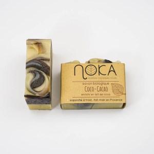 Savon à froid Coco-Cacao - Noka Cosmétiques - Savon solide saponifié à froid, surgras, naturel et bio, zéro déchet