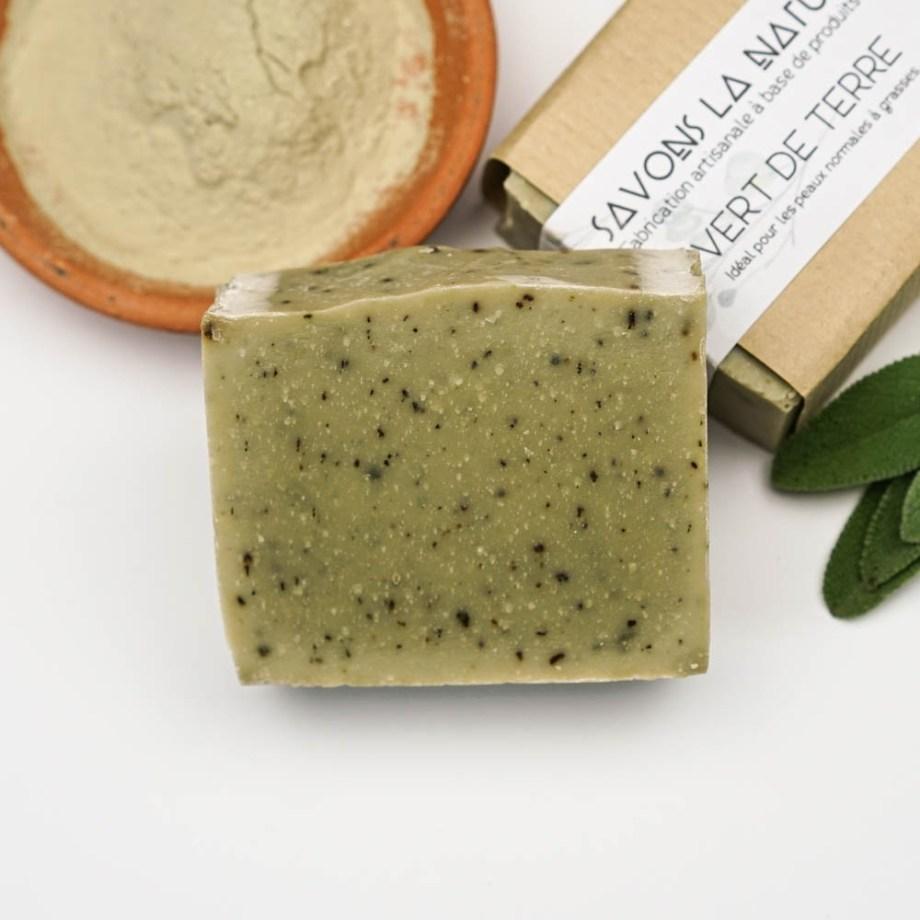 Savon à base d'argile verte et de plantes - - Savon solide saponifié à froid, surgras, naturel et bio, zéro déchet