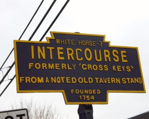 Intercourse, PA Sign - the most stolen town sign in the US