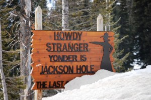"""Howdy Stranger"" Sign at Teton Pass summit"