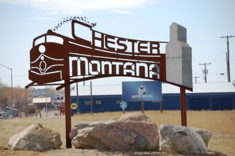 Chester, Montana welcome sign